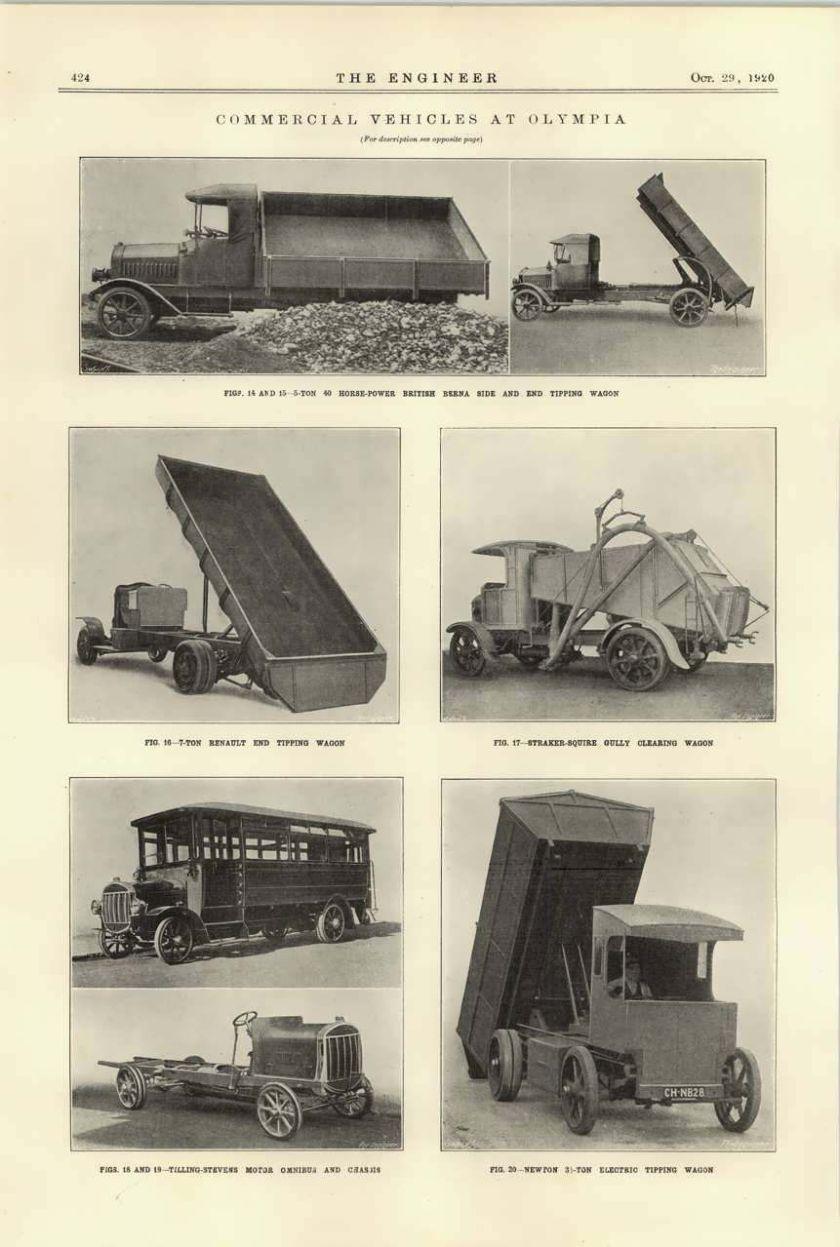 1920 Straker Squire Gully Wagon Tilling Stevens Omnibus British Berna