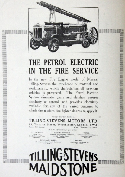 1920 Tilling Stevens Petrol Electric Fire Engines.