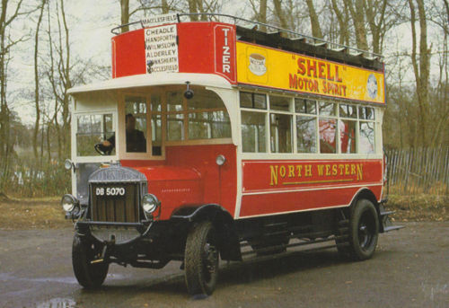 1922 Tilling Stevens TS6 North Western Road Car Tram Shell Advertising Bus Postcard