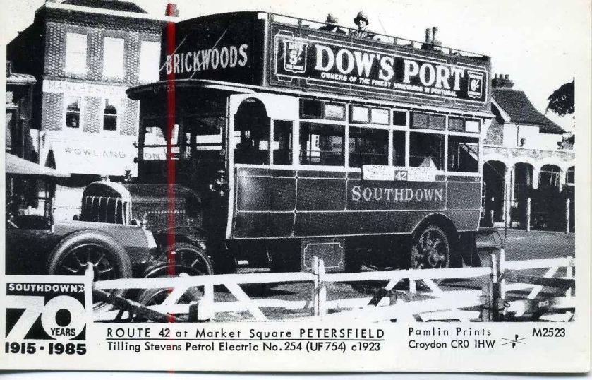 1923 Pamlin postcard M2523 Southdown Tilling Stevens bus Market Square Petersfield