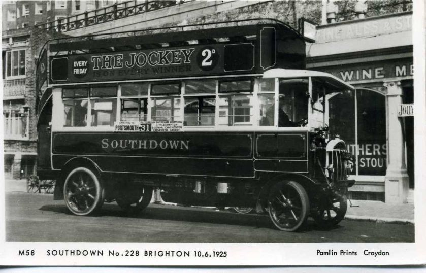 1925 Pamlin photo postcard M58 Southdown Tilling Stevens bus 228 Brighton Sussex 1925