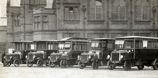 1925 Tilling Stevens fleet at Widnes Town Hall c1925