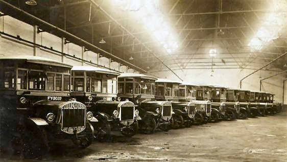 1925 Tilling Stevens fleet in depot, 1925