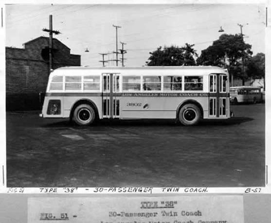 1938 twin Coach Los Angeles Motor Coach Bus Type 38