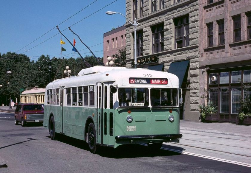 1940 Twin Coach trolley bus in Seattle