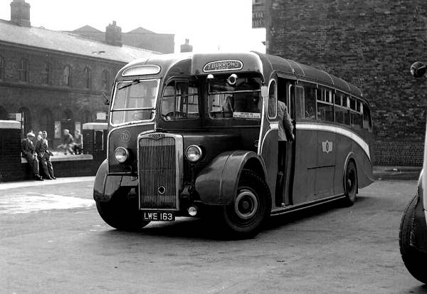 1949 LWE163, was a Whitson C33F bodied Crossley SD42-7 new to Sansam, Sheffield