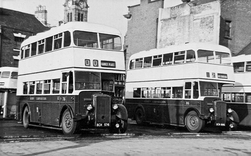 1949+1950 Derby 76, BCH576, and 86, BCH886, were both Daimler CVD6's with Brush H30-26R bodies