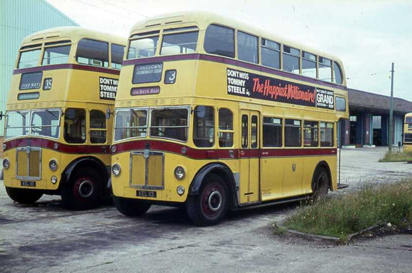 1950 Leyland PD2-3s, KEL110 and KEL113, with Weymann FH33-25D bodies