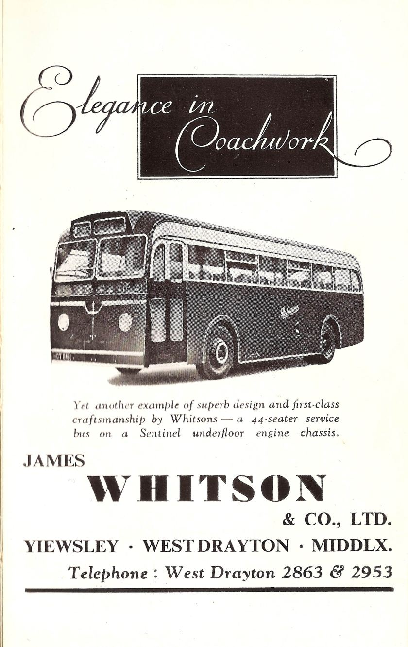 1954 Whitsons of Yiewsley, West Drayton, Middlesex - coachbuilders advert, 1954