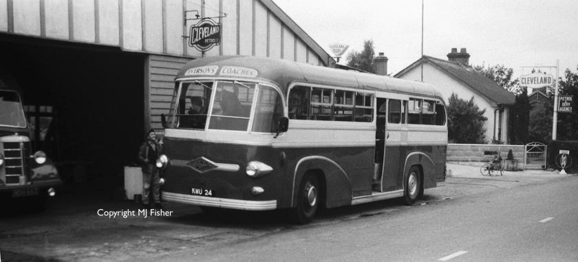 1955 KWU24, Whitson C36C-bodied rear-engined Foden, outside the owner's garage in Wix, Essex, with Walsall-registered OB NDH663 lurking inside.