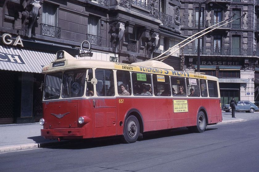 1957 Vétra VBF-model trolleybus in Grenoble in 1965. This vehicle originally served the Paris trolleybus system