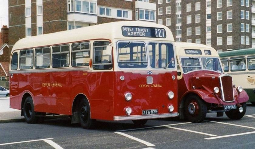 1958 Albion Nimbus NS3AN with Willowbrook B31F bodywork, whilst preserved East Kent EFN568 is a 1950 Dennis Falcon P3 with Dennis B29F bodywork