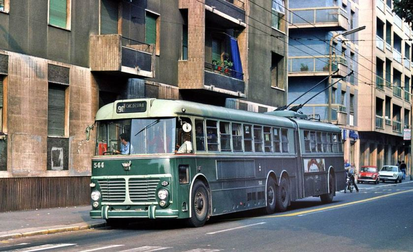 1958 FIAT 2472 Viberti 4-axle articulated trolleybus on route 90