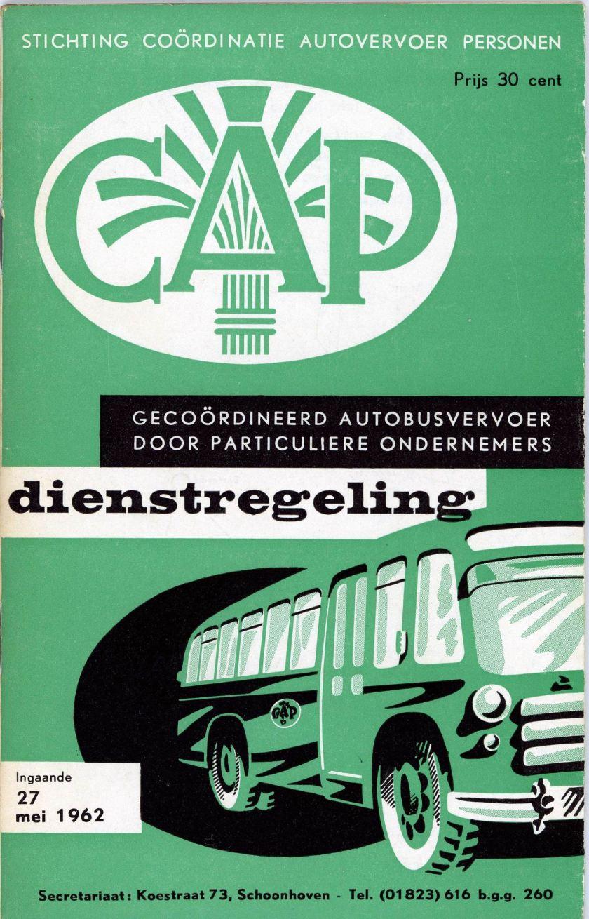 1962 CAP Streekvervoer Dienstregeling