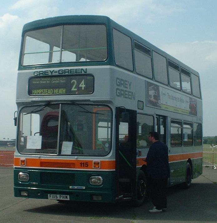 1988 Volvo C10M Preserved Grey-Green bus 115 (F115 PHM)Volvo Citybus Alexander RV, 2003 North Weald bus rally