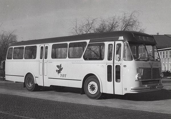 Daf-Leyland 11 met carrosserie van Verheul. De eerste miljonairs voor de TET. 40 zit en 25 staanplaatsen. Bus heeft 11 jaar dienst gedaan in Ootmarsum.
