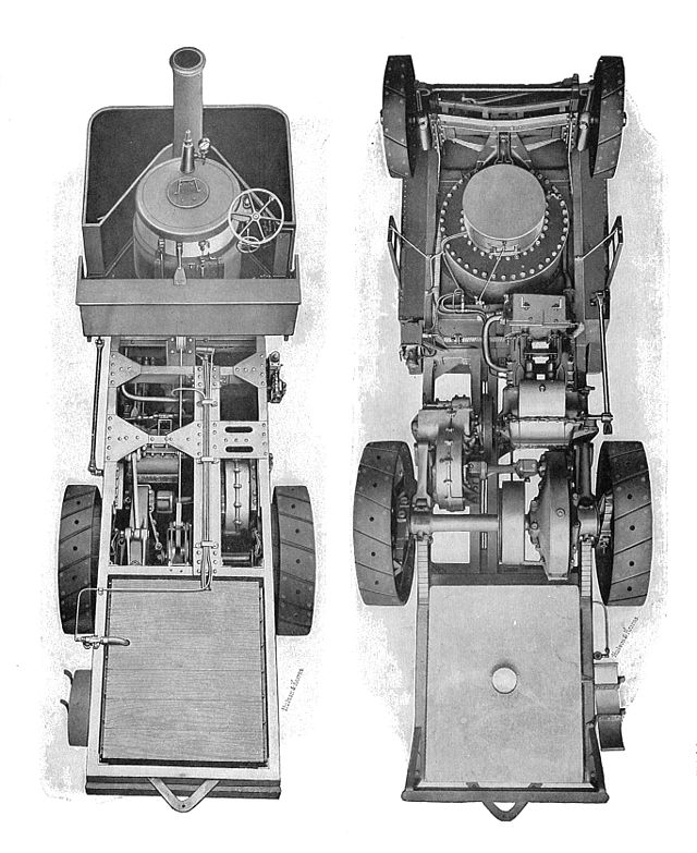 Thornycroft steam wagon, above and below (Rankin Kennedy, Modern Engines, Vol III)