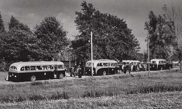 v.l.n.r. Scania-Vabis  Ford met carrosserie van Jongerius  Ford Transit met carrosserie van Verheul en bus 8 Kromhout