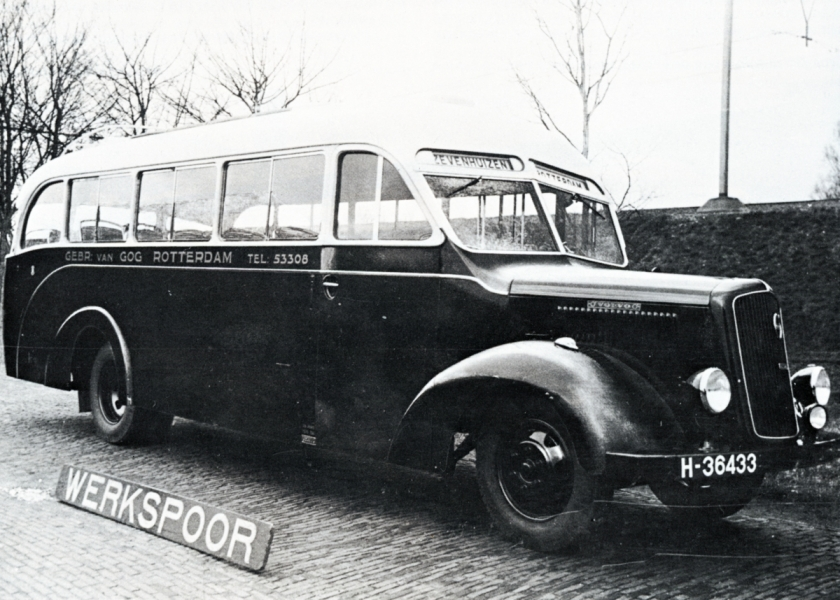 van Gog 08 Particuliere busonderneming Gebr. van Gog, dienst Zevenhuizen-Rotterdam, Bus 8, Volvo B 95 uitvoering B Werkspoor, H 36433