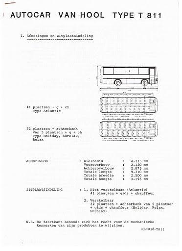 VAN HOOL T811 Techn Spec (NL-018)