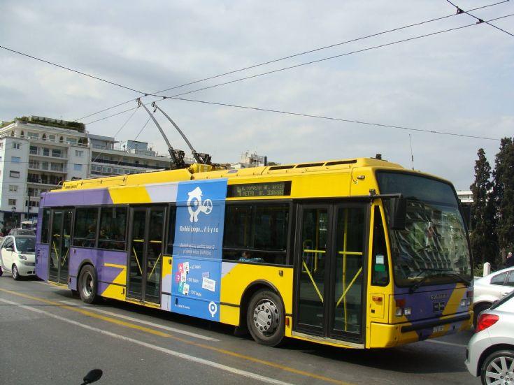 Van Hool trolley bus seen in service in Athens, Greece