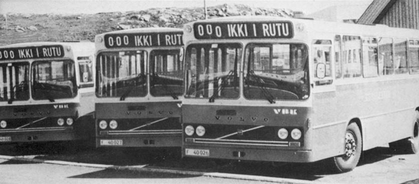 Volvo B58 chassis with 29 seat VBK (Vestfold Bil & Karrosseri) bodies.