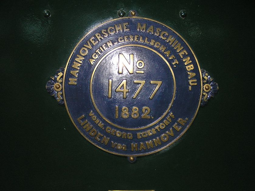 1882 Builder's Plate of Hannoversche Maschinenbau locomotive No 1477 of 1882 0-6-0 at the Finnish Railway Museum