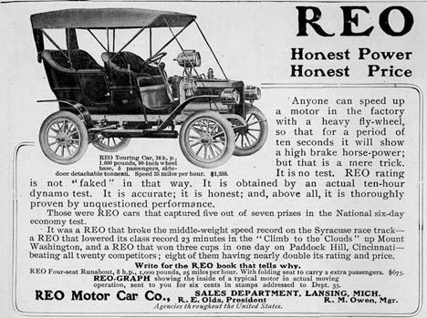 1908 Reo motor car co Ad
