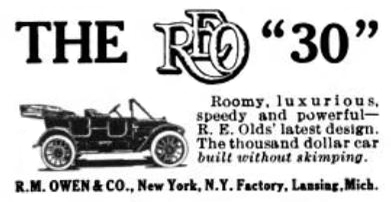 1912 REO advertisement - R. M. Owens & Co.