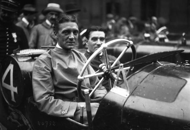 1914 John Hancock driving a Vauxhall at the 1914 French Grand Prix