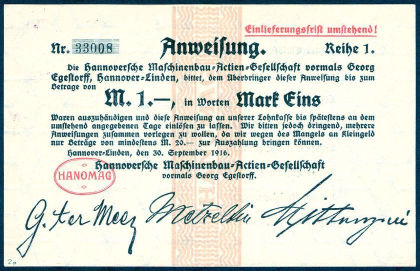 1916-09-30 Anweisung Reihe1 Nr.33008 Hannoversche Maschinenbau-Actien-Gesellschaft Hanomag Mark 1 Gustav ter Meer Erich Metzeltin
