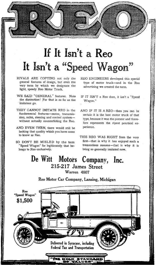 1919 REO Motor Car Company Advertisement - The Syracuse Herald, June 8, 1919