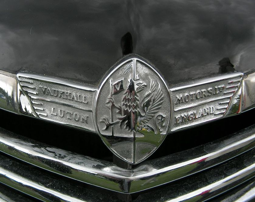1940 Vauxhall grillplate from the 1940s showing the Griffin logo