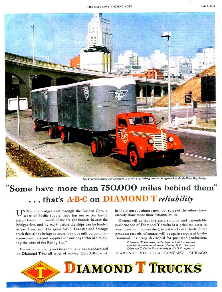 1945 Diamond T Truck Model 614 at Oakland Bay Bridge CA