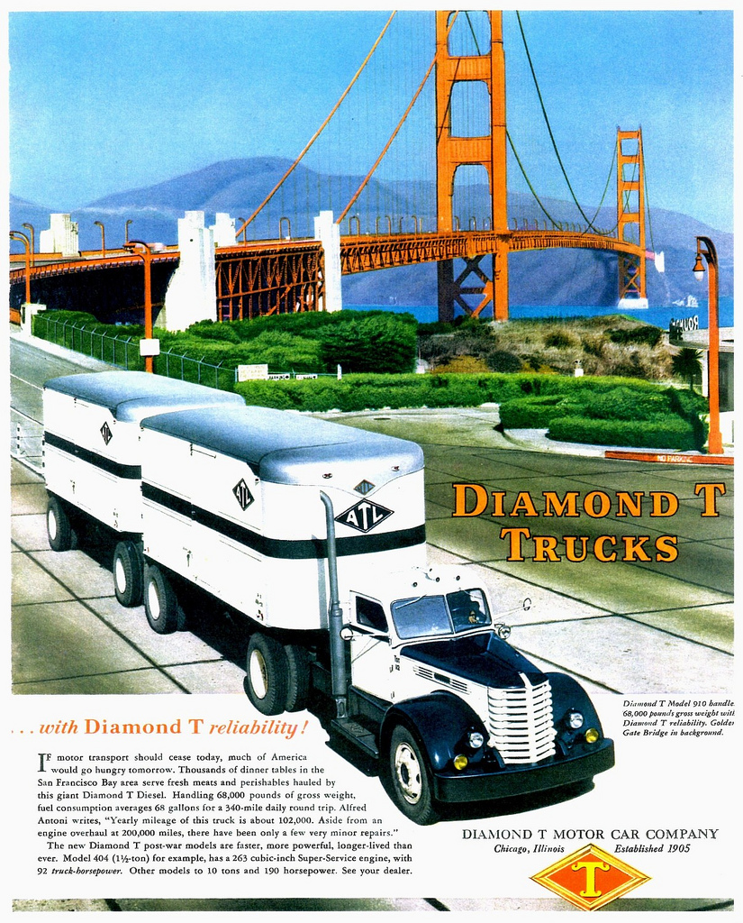1948 Diamond T Truck Model 910 at Golden Gate Bridge CA