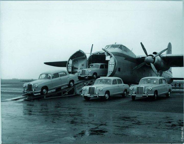1958 Mercedes Benz 190 on transport