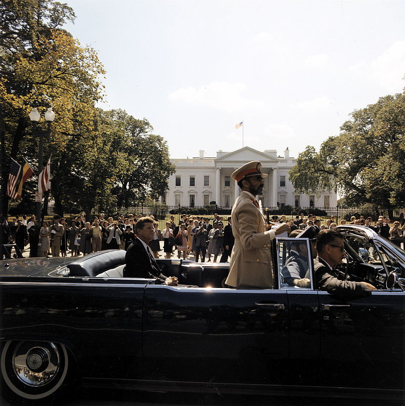 1961+63 Selassie and Kennedy in open Lincoln's
