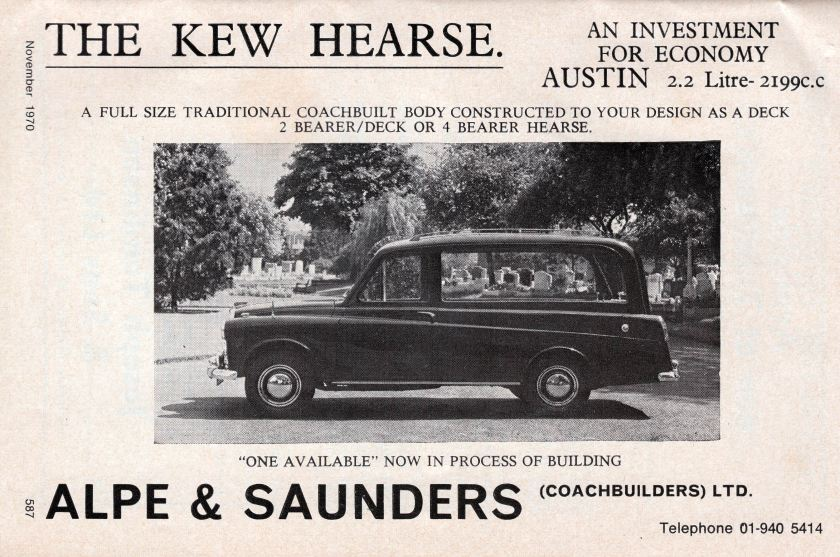 1970 Austin FX4 taxi based hearse ad
