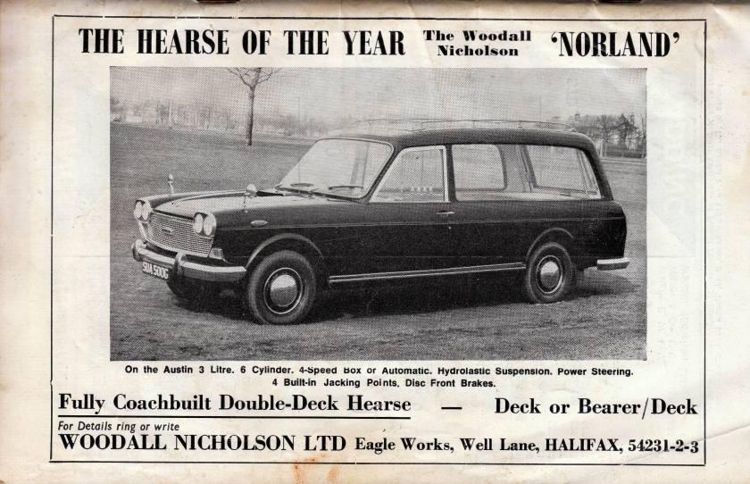 1970 Woodall Nicholson 'Norland'. Austin 3-Litre  hearse