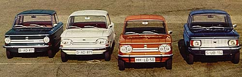 1971 NSU range, with the basic 598cc Prinz on the far left
