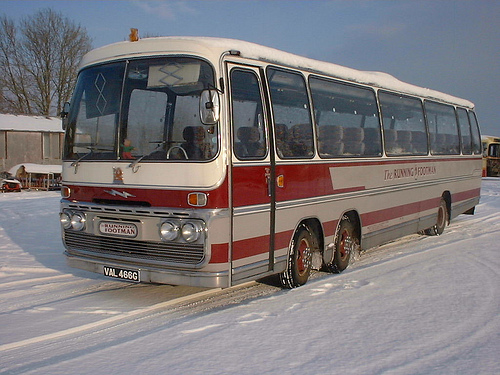 Bussen Plaxton Panorama Elite II bodywork on a Bedford VAL chassis.