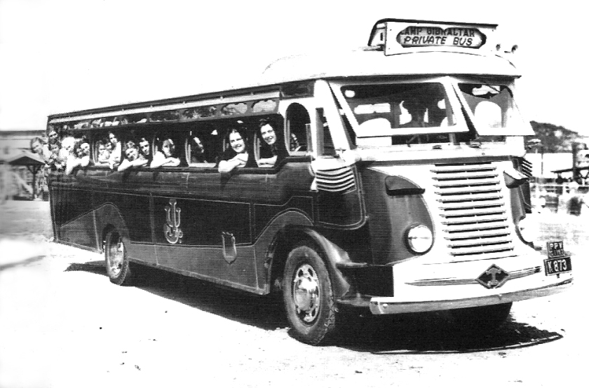 Diamond T Bus Gibraltar Evacuee Camp, Jamaica Bound for the City