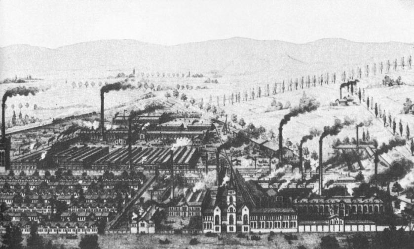 Egestorff Maschinenfabrik und Eisengießerei etwa Mitte des 19. Jahrhunderts