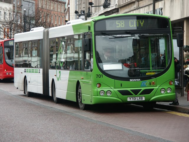 Nottingham City Transport Scania L94UA in Nottingham in January 2003