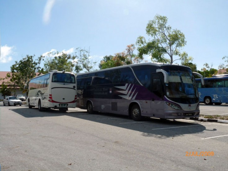 Yutong 47 seater coach operated by Bengkel Kereta Berakas (BKB) Coach and Bus Rentals Unit and a Scania Irizar coach