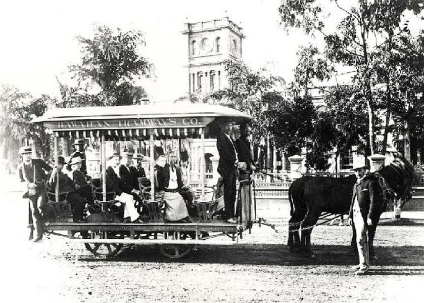 1901 Horse_drawn_tramcars,_Honolulu,_Hawaii,_1901
