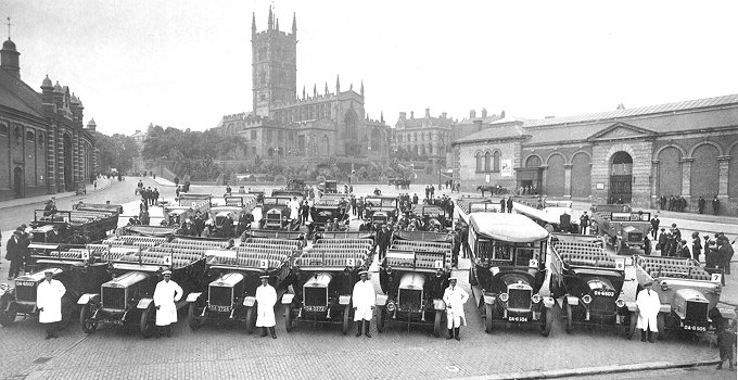 1921 Guy coaches in Wolverhampton Market place