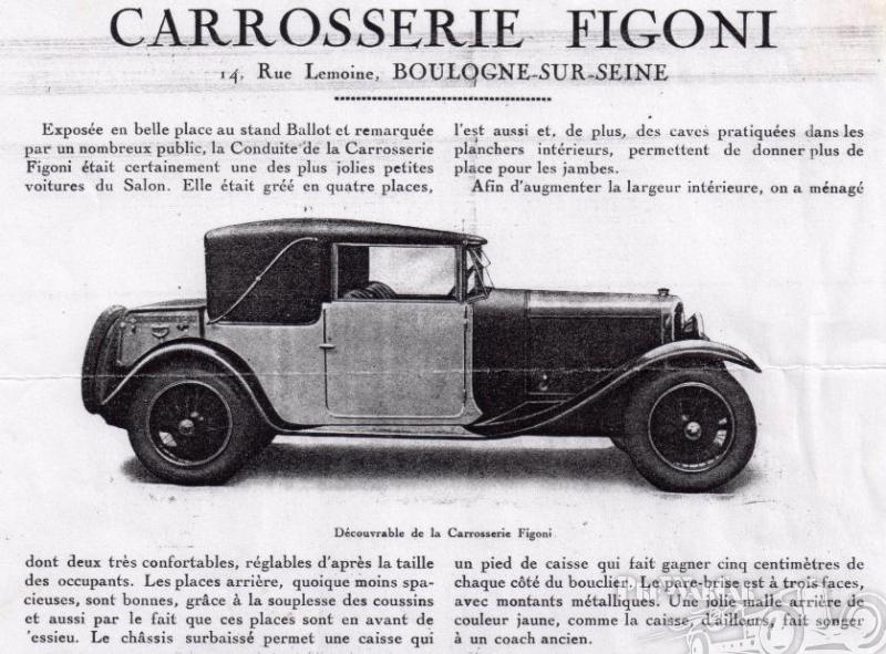 1927 Ballot Cabriolet Figoni ad