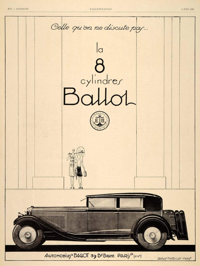 1928 ballot 8-cylinder ad