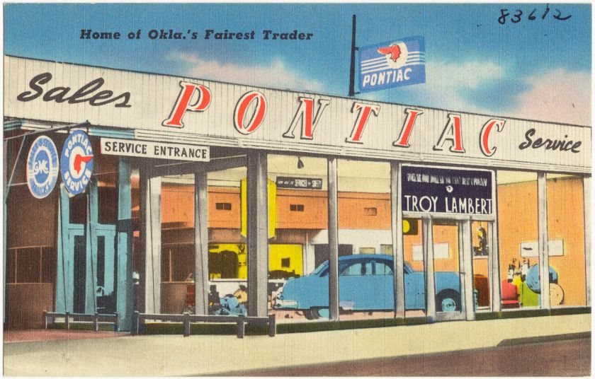 1930-45 postcard Troy Lambert Pontiac